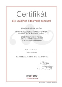 IDEXX Certificate_Guillermo Couto seminar_MVDr. Maradova_01