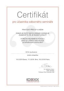 IDEXX Certificate_Guillermo Couto seminar_MVDr. Rosolova_01